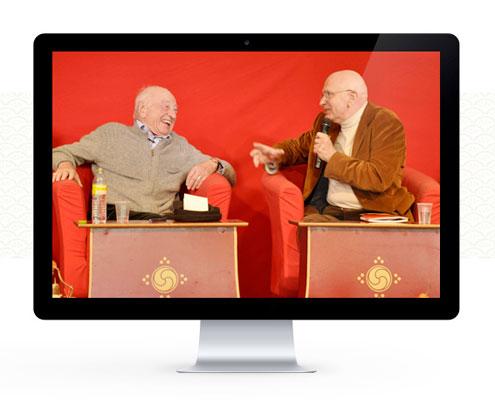 Denys Rinpoché et Edgar Morin lors de le RencontreHumanisme et Mindfulness